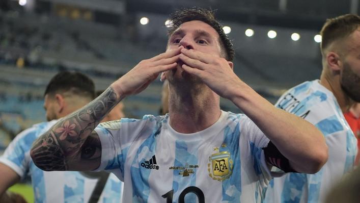 Lionel Messi celebrates Argentina's Copa America triumph