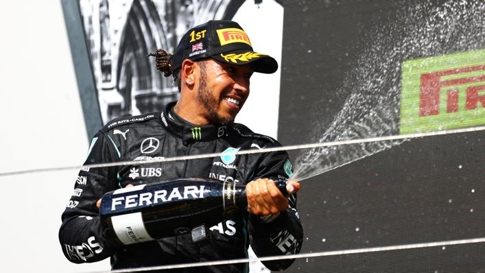 Lewis Hamilton celebrates his British Grand Prix win