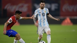Lionel Messi in action against Chile