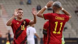 Belgium's Thorgan Hazard (left) celebrates his goal against Greece on Thursday