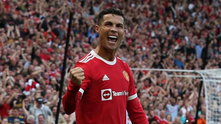 Cristiano Ronaldo celebrates on his Manchester United return