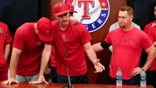 Grieving Angels, from left, Mike Trout, Andrew Heaney and Kole Calhoun