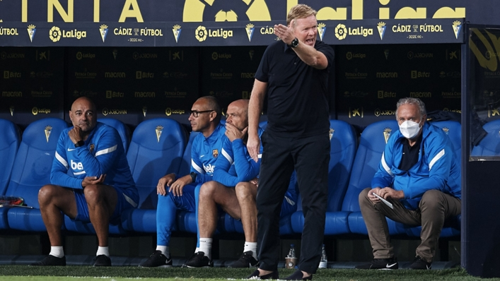Barcelona boss Ronald Koeman cut a frustrated figure during his side's game against Cadiz