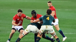 Maro Itoje (centre) in action during the British and Irish Lions' win over South Africa