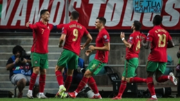 Cristiano Ronaldo celebrates his hat-trick against Luxembourg