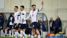 Jack Grealish (right) celebrates his first England goal