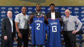 Kawhi Leonard (third from left) and Paul George (second from right) were introduced as members of the Clippers on Wednesday.