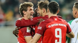 Thomas Muller (L) after scoring for Bayern Munich against Greuther Furth