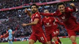 Mohamed Salah celebrates scoring Liverpool's second goal against Manchester City