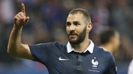 Karim Benzema celebrates scoring for France against Armenia in October 2015