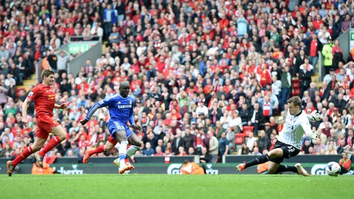 Demba Ba scores as Steven Gerrard trails in his wake