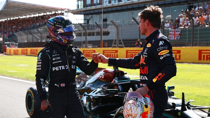 Lewis Hamilton and Max Verstappen at Silverstone