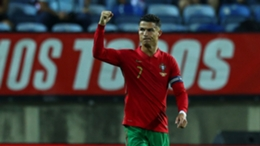 Cristiano Ronaldo celebrates his goal against Qatar