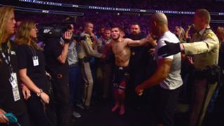 Khabib Nurmagomedov is held back after his win over Conor McGregor at UFC 229