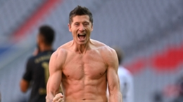 A jubilant Robert Lewandowski celebrates against Augsburg