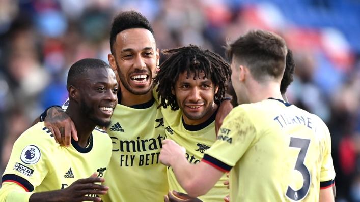 Arsenal forward Nicolas Pepe celebrates with his team-mates