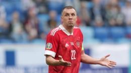 Russia forward Artem Dzyuba in action against Finland