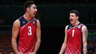 Taylor Sander (left), Matt Anderson celebrate