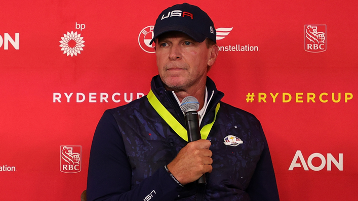 Steve Stricker speaks to the media ahead of the Ryder Cup