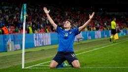 Italy's Federico Chiesa celebrates his opener against Austria