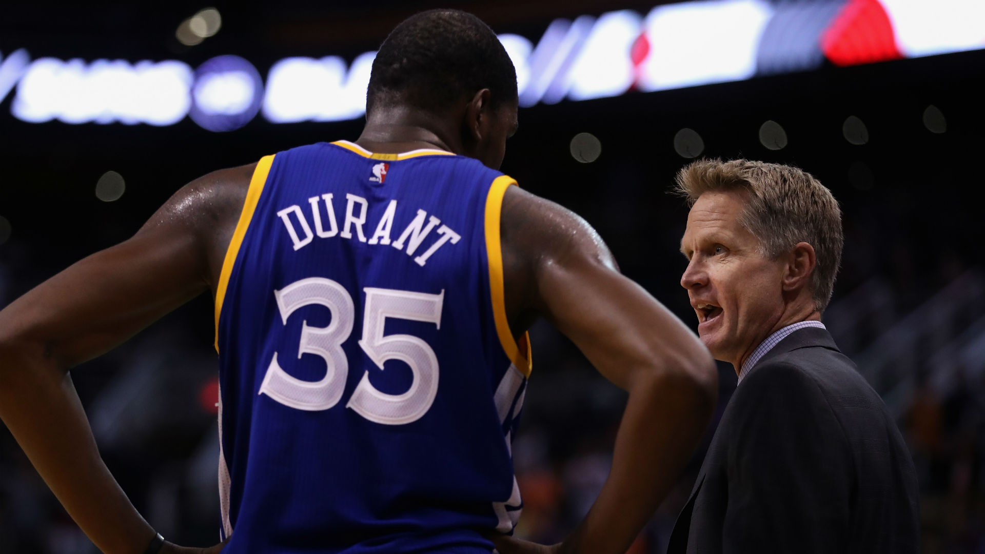 meet b9ab7 647be Steve Kerr, Kevin Durant disagree about Warriors  ball movement