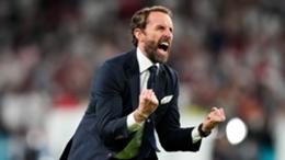 Gareth Southgate celebrates England's semi-final win over Denmark