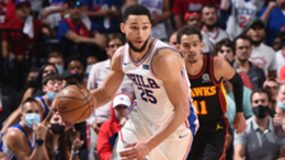 Ben Simmons #25 of the Philadelphia 76ers handles the ball against the Atlanta Hawks during Round 2, Game 7 of the Eastern Conference Playoffs