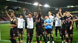 Midtjylland celebrate their defeat of Celtic