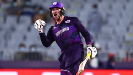 Richie Berrington celebrates after hitting the six that took Scotland into the Super 12 stage