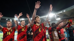 Belgium's players celebrate their win over Portugal