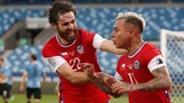 Eduardo Vargas celebrates his goal with Ben Brereton