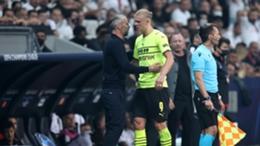 Erling Haaland and Borussia Dortmund coach Marco Rose