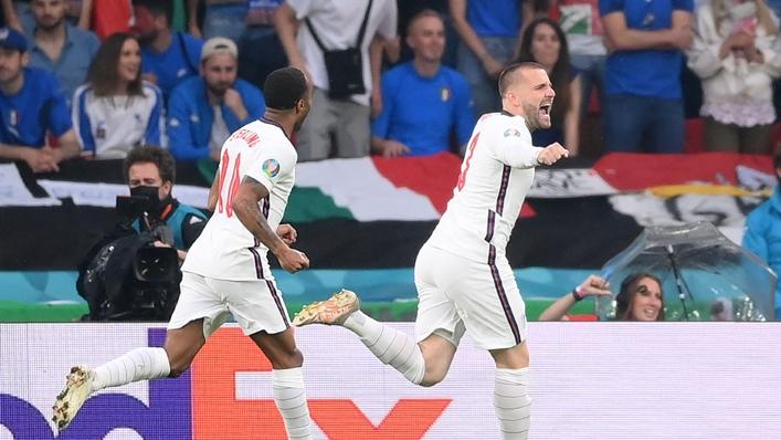 England wing-back Luke Shaw celebrates scoring against Italy