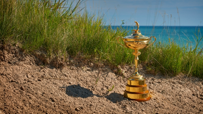 The Ryder Cup trophy at Whistling Straits