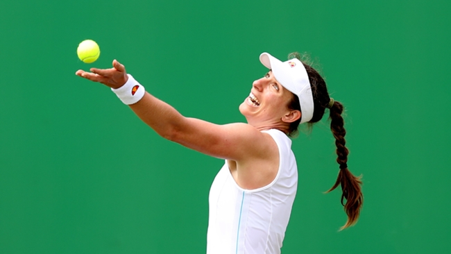 Johanna Konta in action at the Nottingham Open