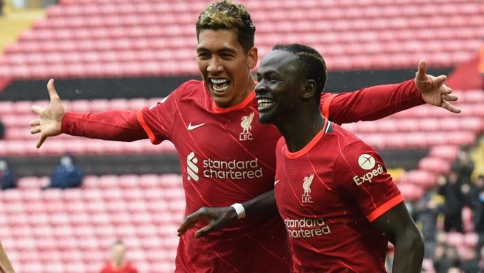 Sadio Mane celebrates his opening goal against Crystal Palace