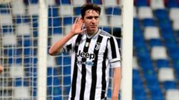 Juventus' Federico Chiesa celebrates his winner in the Coppa Italia final win over Atalanta