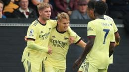 Arsenal celebrate Martin Odegaard's opening goal at Burnley