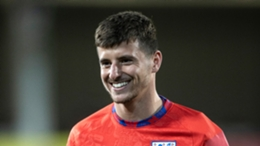 Mason Mount takes part in an England training session