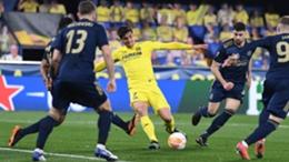 Gerard Moreno converts a rebound against Dinamo Zagreb.