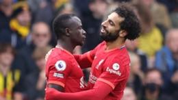 Sadio Mane and Mohamed Salah celebrate a goal against Watford