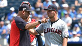 Trevor Bauer, right, and Terry Francona