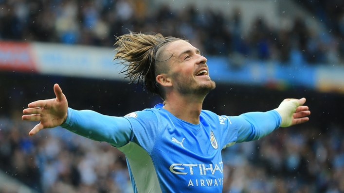 Jack Grealish celebrates his first goal for Manchester City after moving from Aston Villa