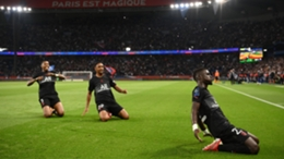 Idrissa Gueye celebrates scoring for Paris Saint-Germain against Montpellier on Saturday