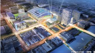 Artist rendering of Milwaukee's downtown arena package
