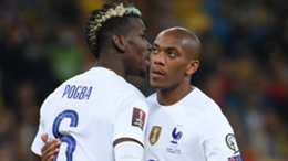 Anthony Martial (R) with Paul Pogba in France's draw with Ukraine