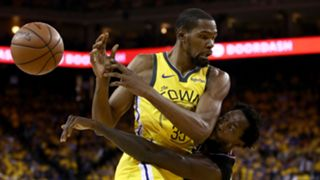 Kevin Durant (left) and Patrick Beverley