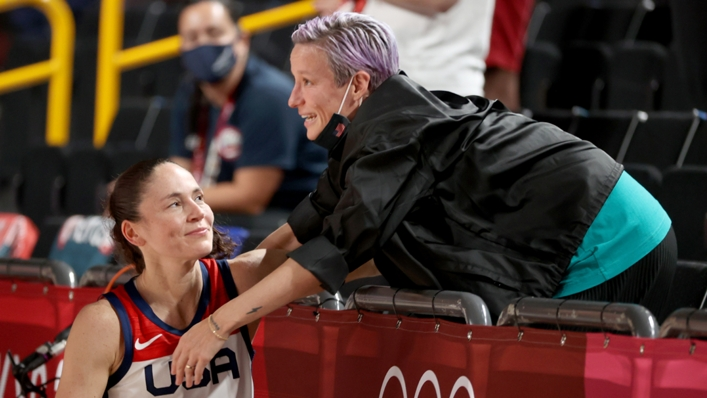 Sue Bird and Megan Rapinoe at courtside after USA's win