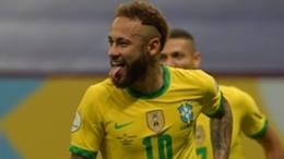 Brazil star Neymar celebrates his goal