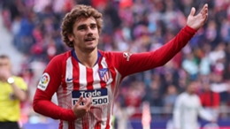 Antoine Griezmann celebrates a goal during his first spell at Atletico Madrid